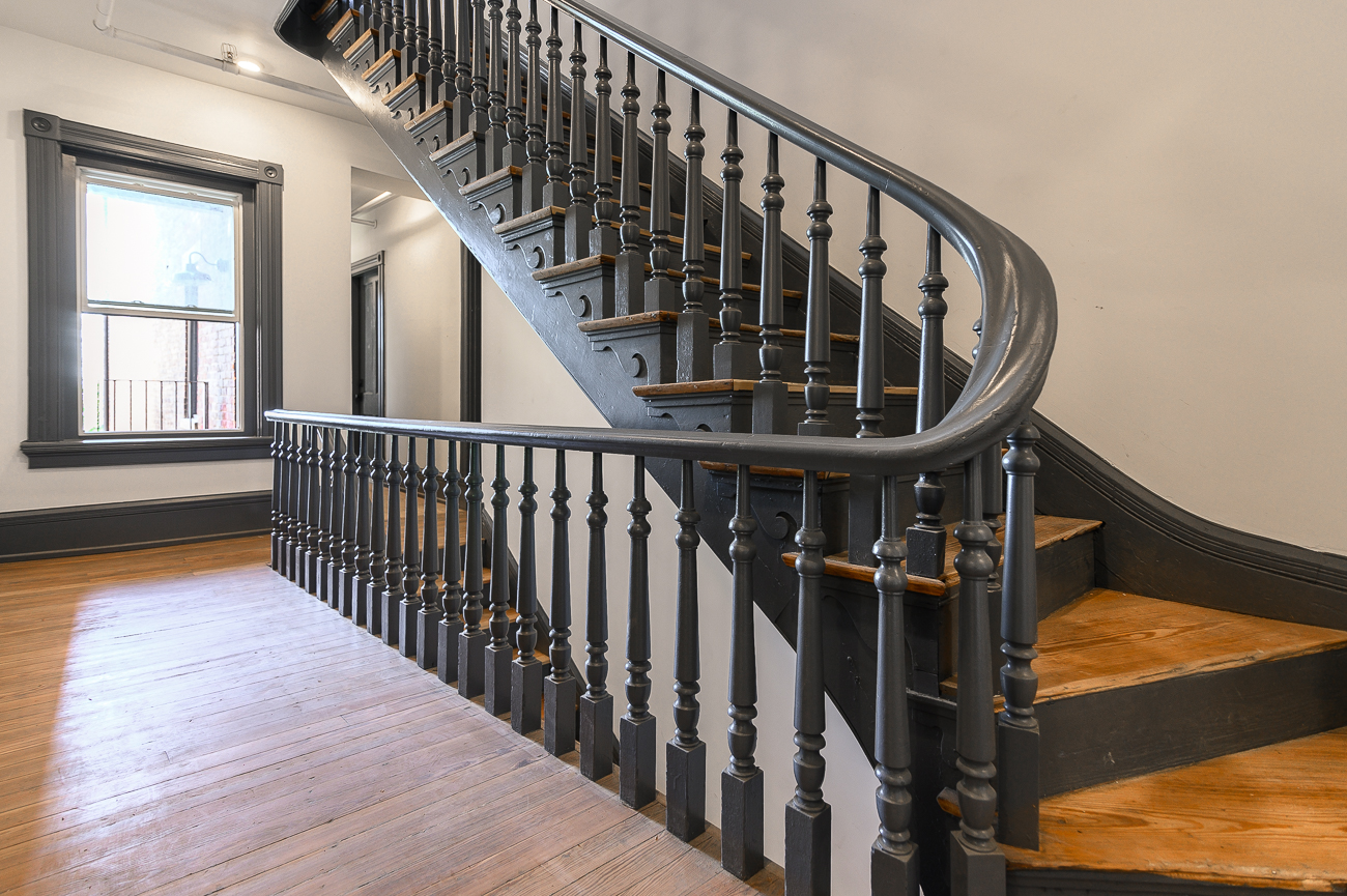 The original stairs were preserved in the remodel. / Image: Phil Armstrong, Cincinnati Refined // Published: 5.9.19