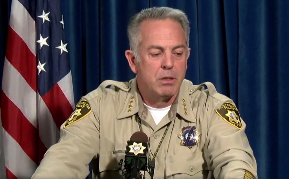 Sheriff Joe Lombardo during a press conference at LVMPD Headquarters on Friday, Oct. 13, 2017. (KSNV, file)<p></p>