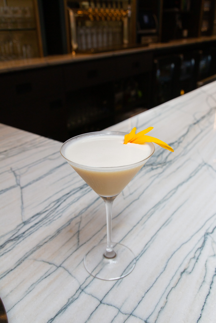 The Square (a Sidecar variant): cognac, yellow Chartreuse, lemon, tarragon vinegar, and egg white served in a chilled cocktail glass / Image: Elizabeth A. Lowry // Published: 11.9.20