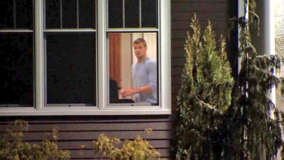 New England Patriots tight end Rob Gronkowski is shown inside his Foxborough home. Police are investigating a break-in. (WBTS)<p></p>