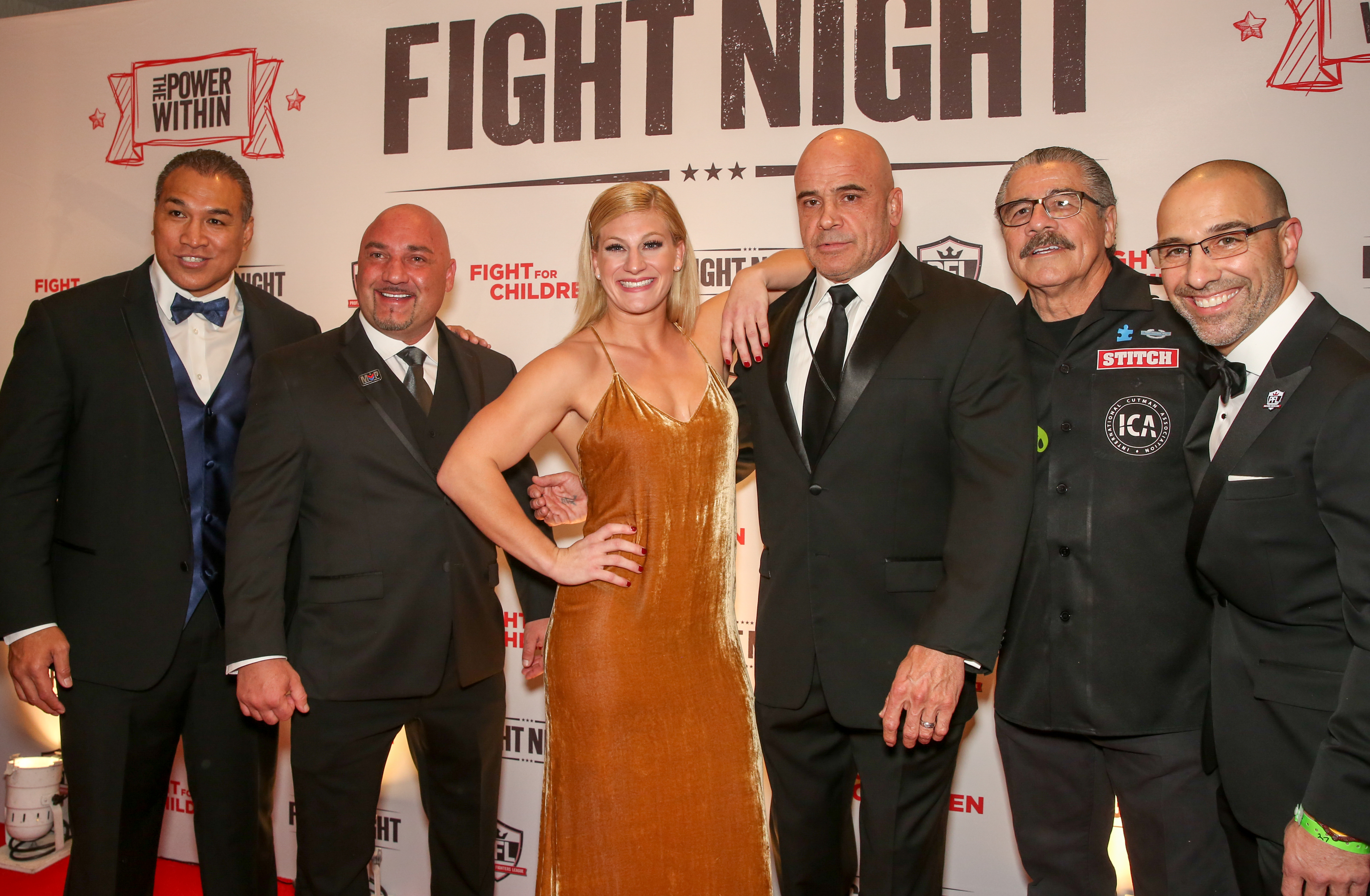 From left, Rat Sefo, Jay Glazer, Kayla Harrison, Bas Rutten, Jacob Duran and Carlos Silva. (Amanda Andrade-Rhoades/DC Refined)