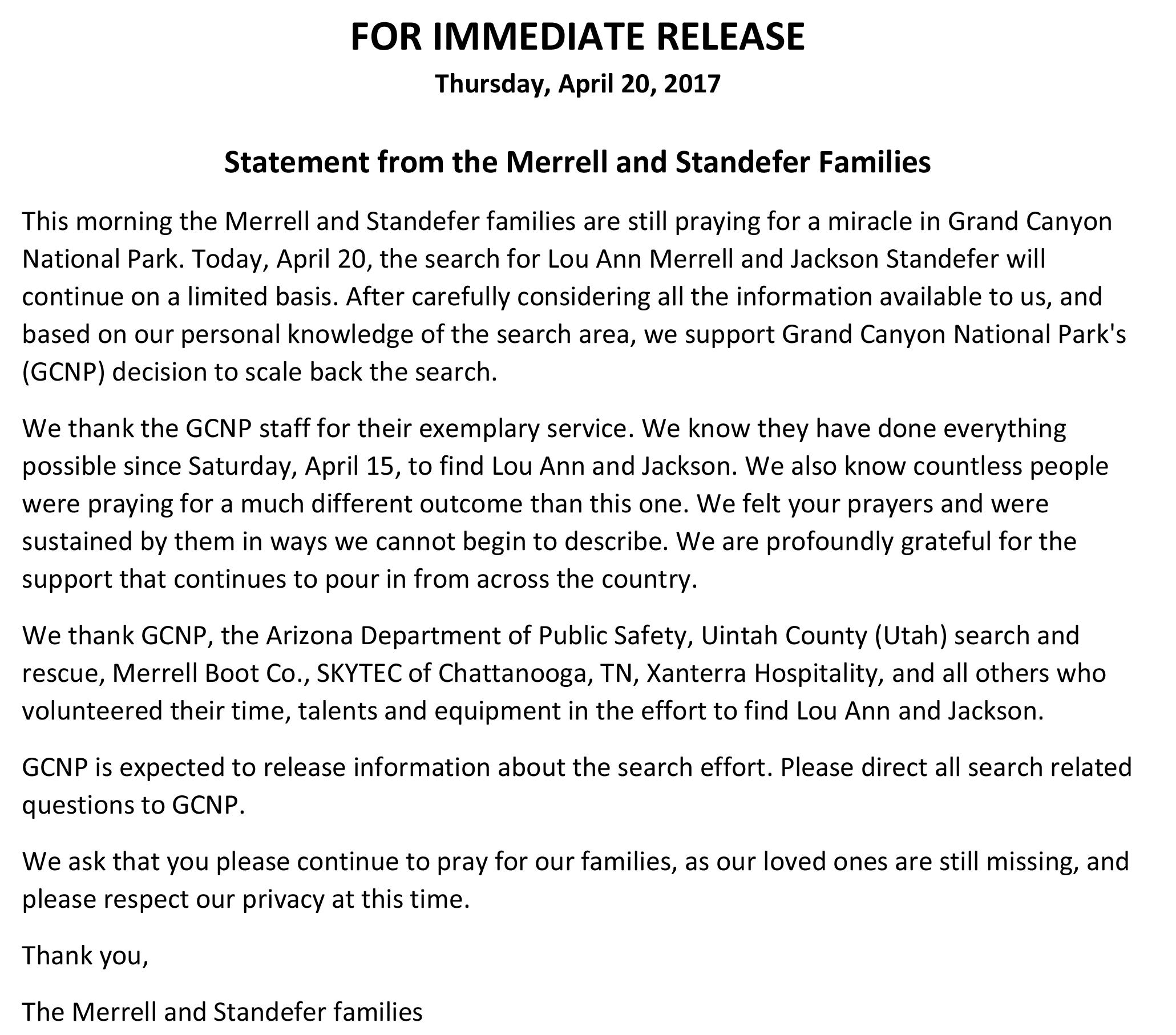 Families of missing hikers support scaling back search, still 'praying for a miracle' (Statement by Merrell and Standefer families)