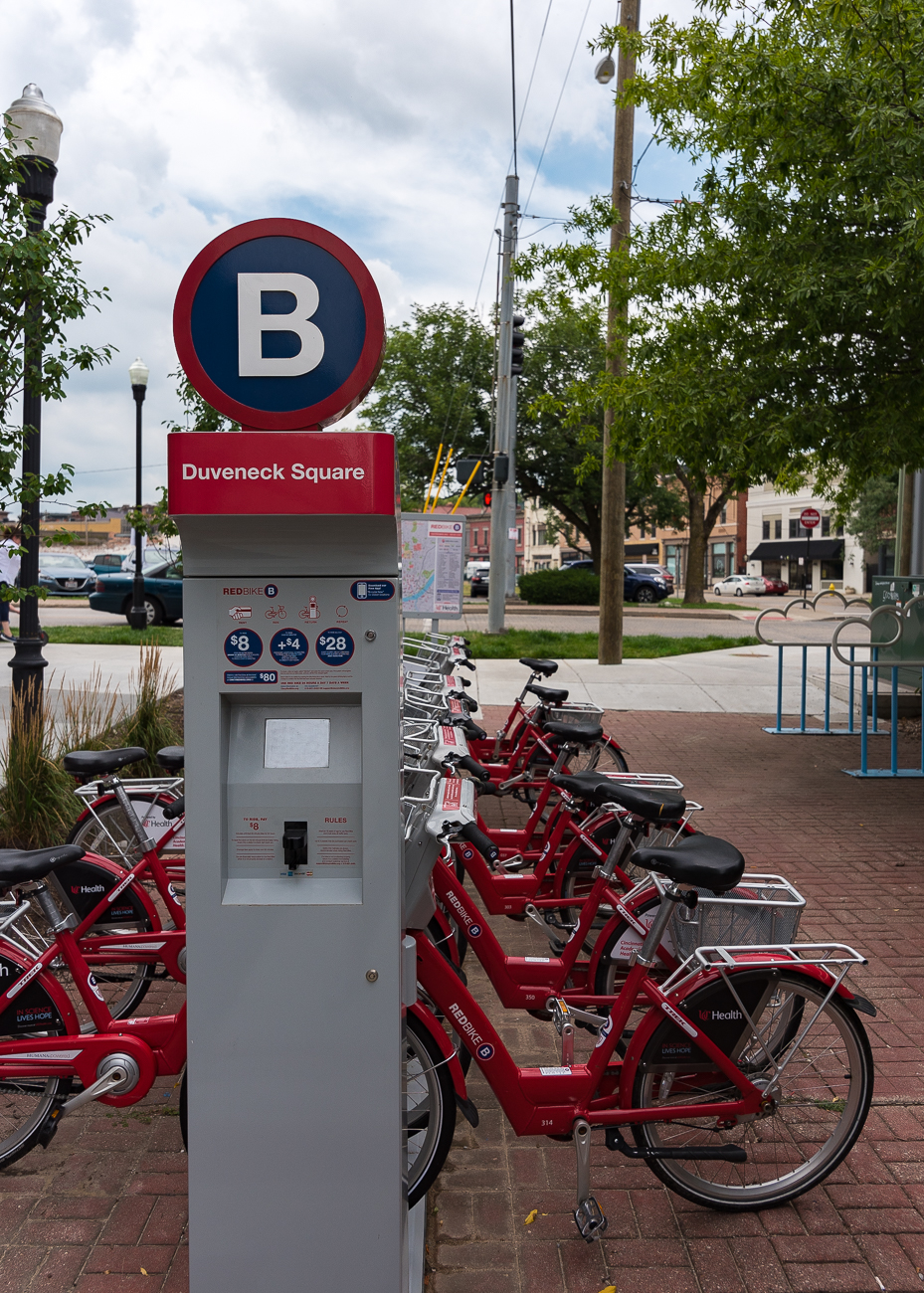A RedBike station is conveniently dedicated to the property. / Image: Phil Armstrong, Cincinnati Refined // Published: 8.10.18