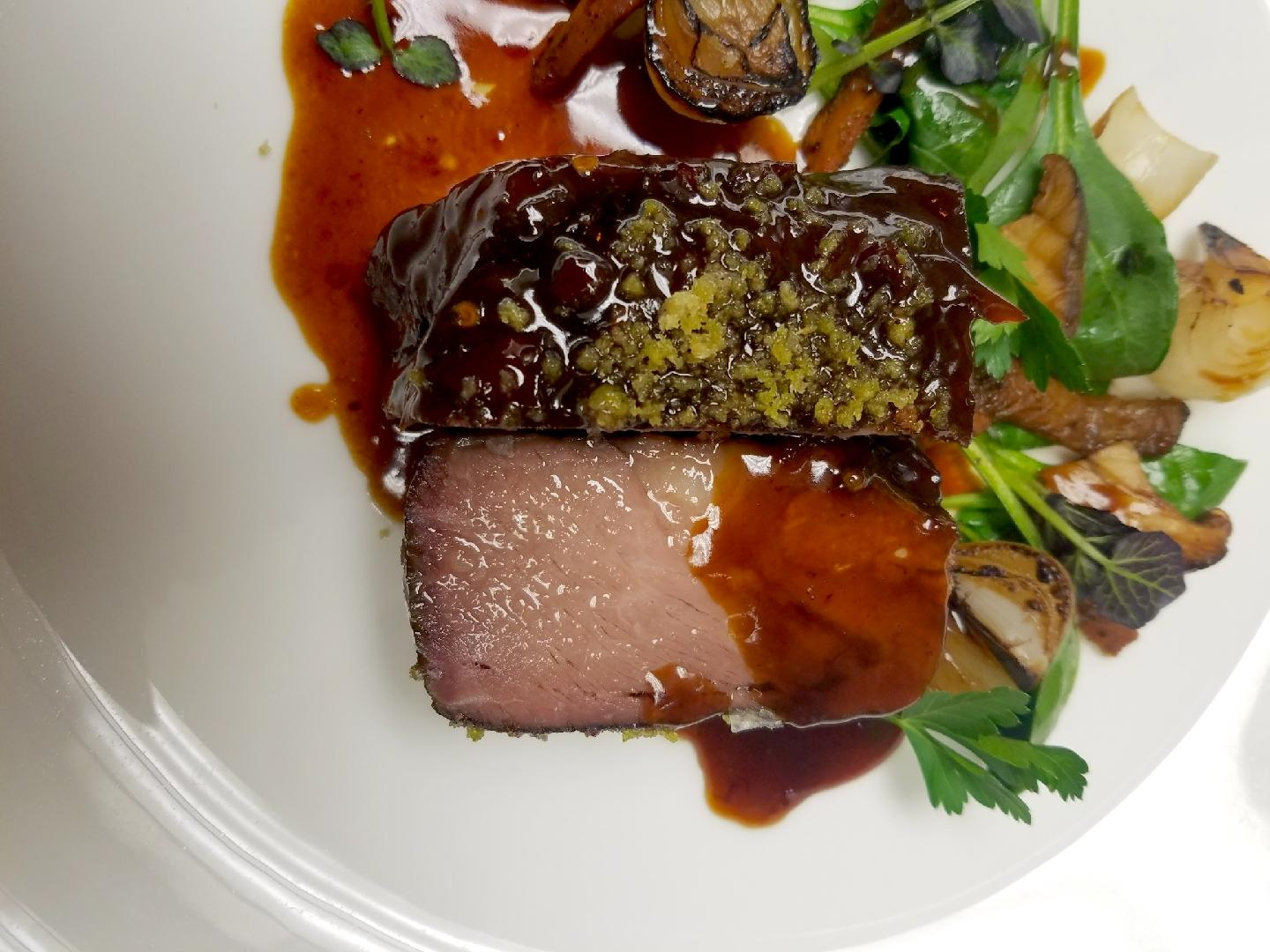"Braised Short Rib ""Pastrami Style,"" Served with Roasted Cabbage, Pickled and Roasted Cippollini Onions and Gruyere Fondue{&amp;nbsp;} (Photo courtesy: Vermilion)<p></p>"