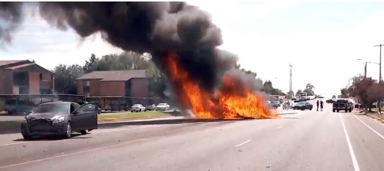 Utah plane crashes into car, bursts into flames, no major injuries (Photo: Patrick Fitzgibbon / KUTV)