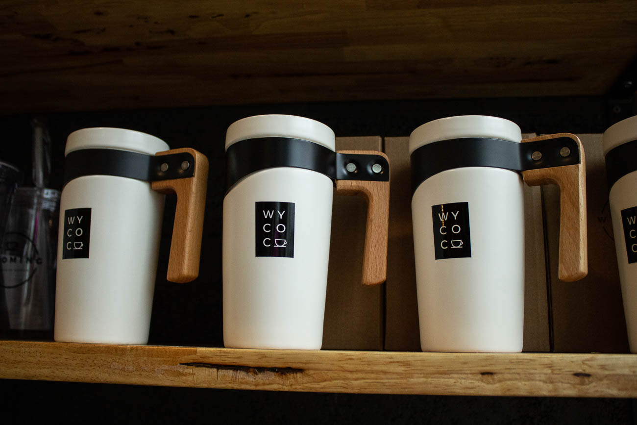 Wyoming Community Coffee sells their own merchandise such as mugs, cups, and t-shirts.{ }/ Image: Katie Robinson, Cincinnati Refined // Published: 3.18.19