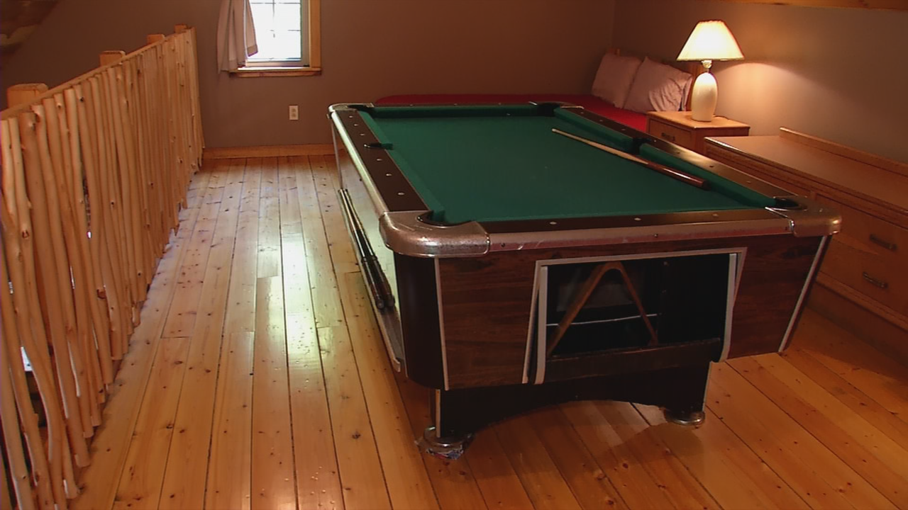 Cabin #2 features a pool table in the upper loft. (WCHS/WVAH)