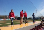 FOX 11 Meteorologists Katy Kramer, Phil DeCastro, Patrick Powell and Pete Petoniak present during FOX 11 Weather Day, May 4,2017, at Fox Cities Stadium in Grand Chute.