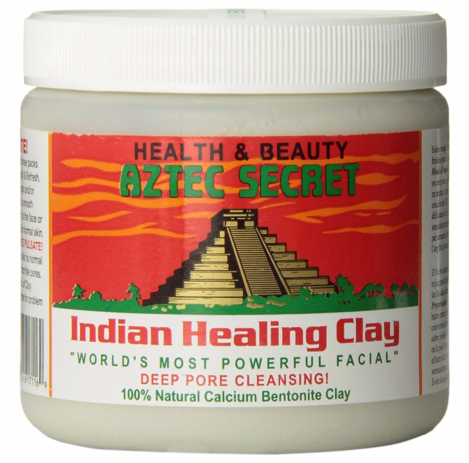 Bentonite Clay Mask-- Mix a spoonful or two of bentonite clay powder with apple cider vinegar until it forms a paste. Spread it all over your face and neck, being careful not to get it too close to your eyes. Let it dry for fifteen or twenty minutes, then remove with a warm washcloth. (Image: Courtesy Aztec Beauty)