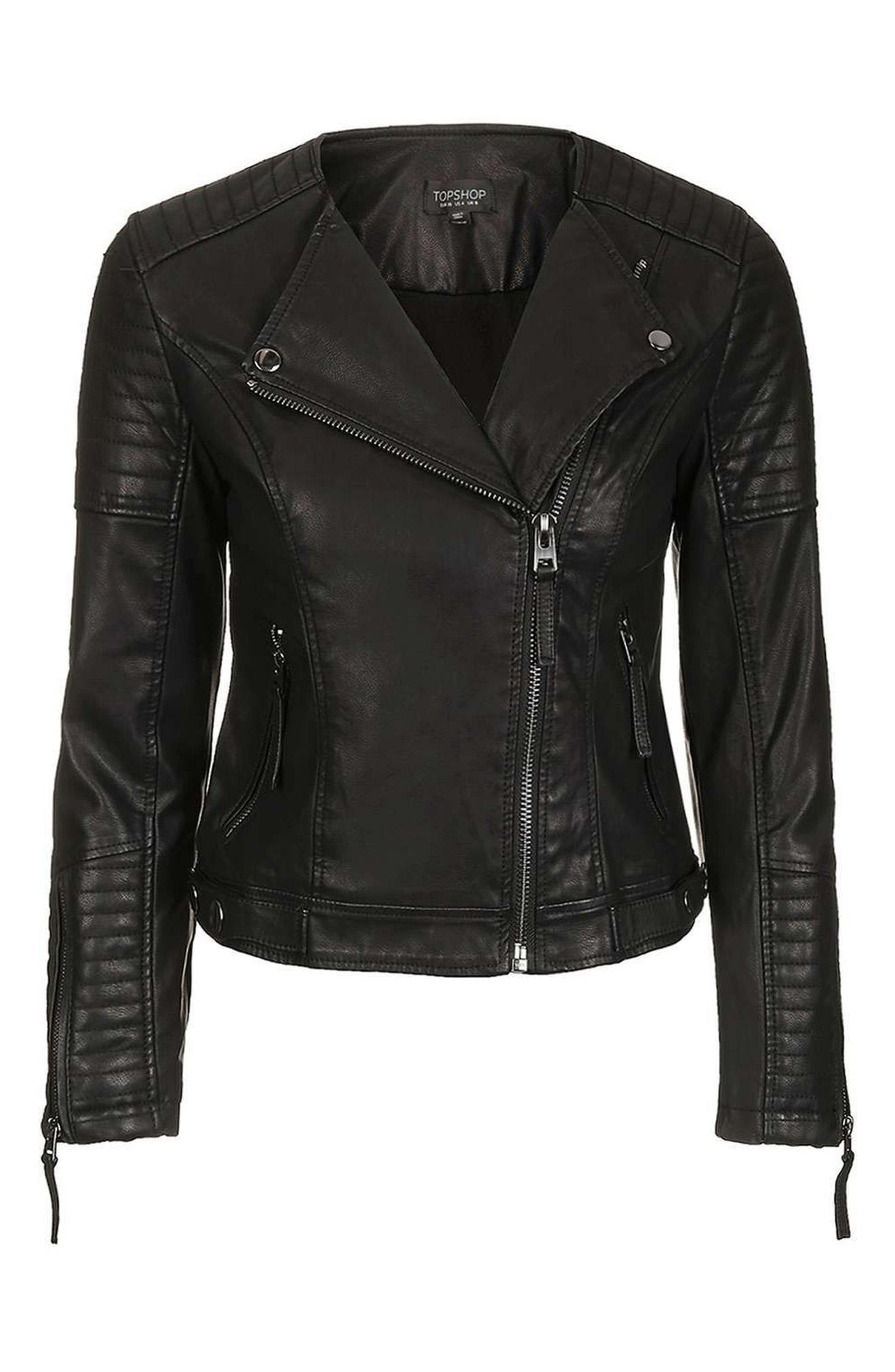 Topshop Nelly Faux Leather Biker Jacket from Nordstrom // Price: $90 // (Photo courtesy: Nordstrom/Nordstrom.com)<p></p>