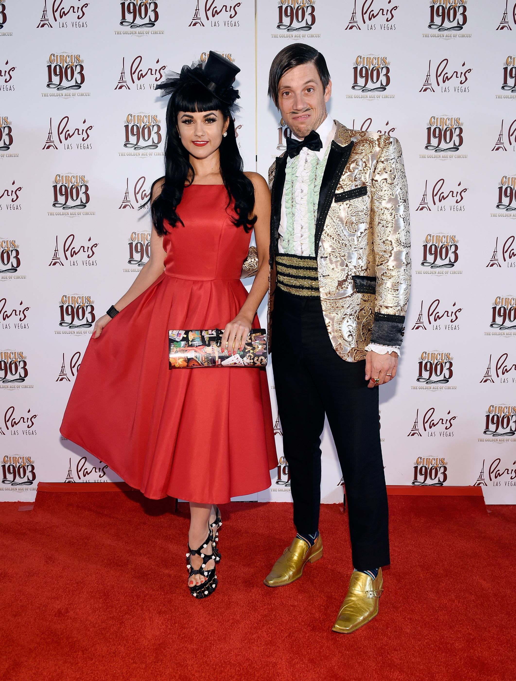 "Singer and burlesque dancer Melody Sweets, left, and The Gazillionaire from the show Absinthe arrive at the grand opening of ""Circus 1903"" at Paris Las Vegas Tuesday, July 25, 2017, in Las Vegas. Life-size elephants puppets along with a cast of circus acts from around then world will entertain audiences of all ages Tuesday through Sunday at the Paris Theater. CREDIT: David Becker/Las Vegas News Bureau"