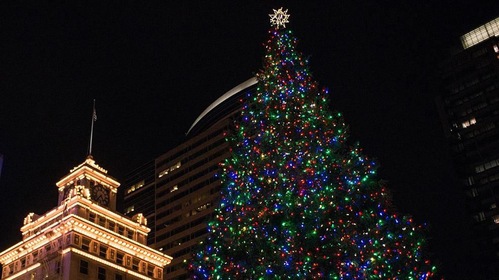 Pioneer Courthouse Square was filled with carolers on Friday, Nov. 25 for  the 32nd annual Portland Christmas Tree Lighting Ceremony. - Portland's Tree Lighting At Pioneer Square On Friday, MAX Stations