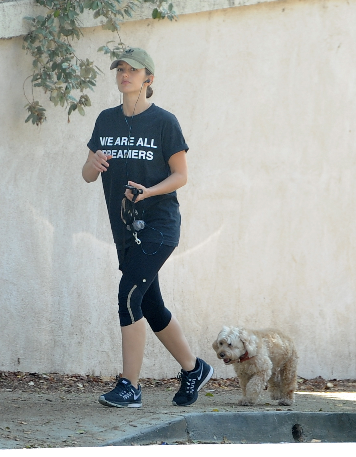 Minka Kelly takes her dogs Chewy and Fred to the dog park while wearing a WE ARE ALL DREAMERS tshirt                                    Featuring: Minka Kelly, Chewy                  Where: Hollywood, California, United States                  When: 09 Sep 2017                  Credit: WENN