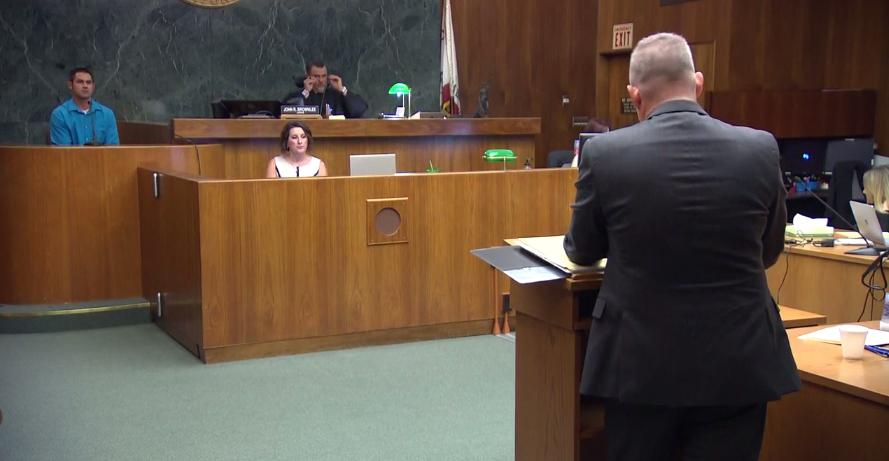 A witness testifies Monday, Sept. 11, 2017, in court in Bakersfield, Calif., at Sabrina Limon's trial in the murder of her husband. (KBAK/KBFX photo/pool camera)
