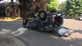 Jeep winds up on its top after overturning in Springfield crash