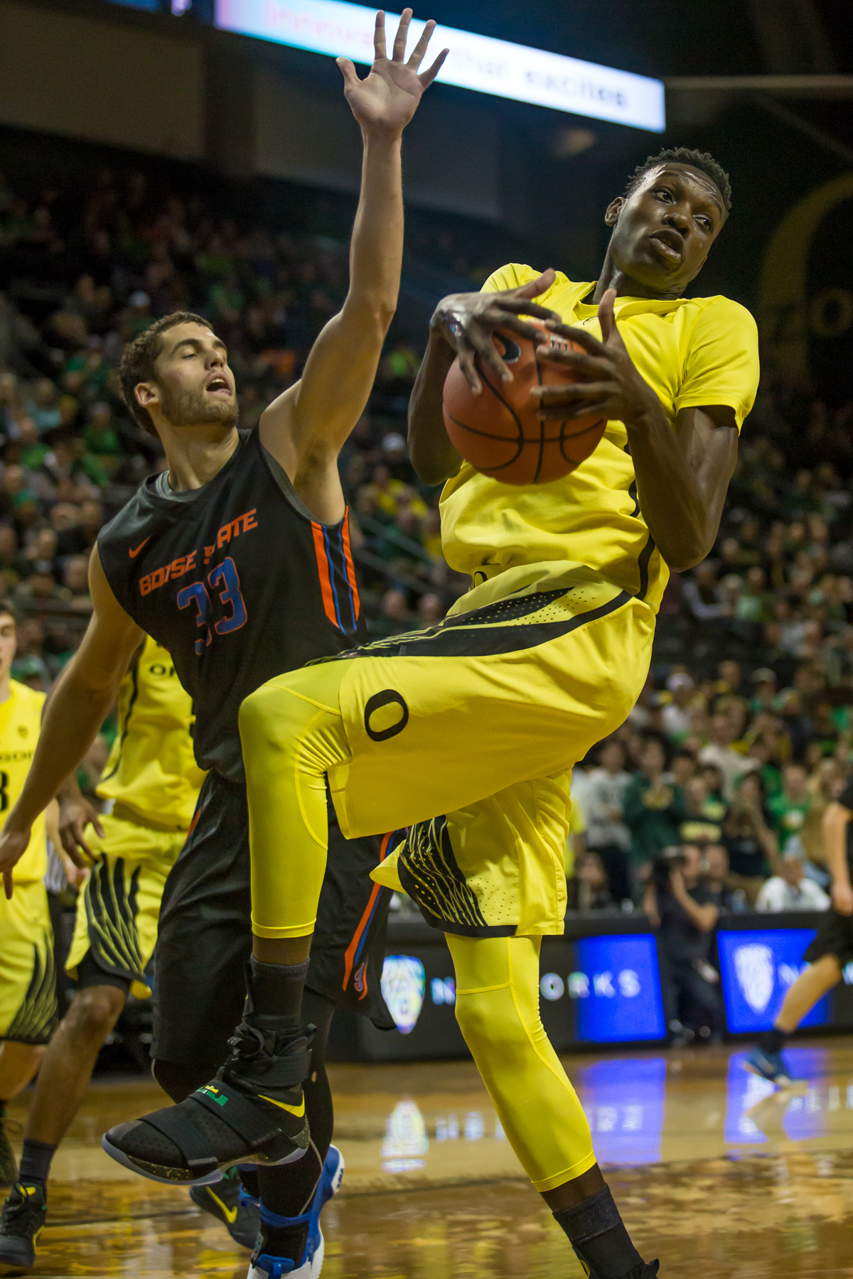 Oregon forward Chris Boucher (#25) grabs a rebound from Boise State forward David Wacker (#33). After trailing for most of the game, the Oregon Ducks defeated the Boise State Broncos 68-63. Photo by Dillon Vibes