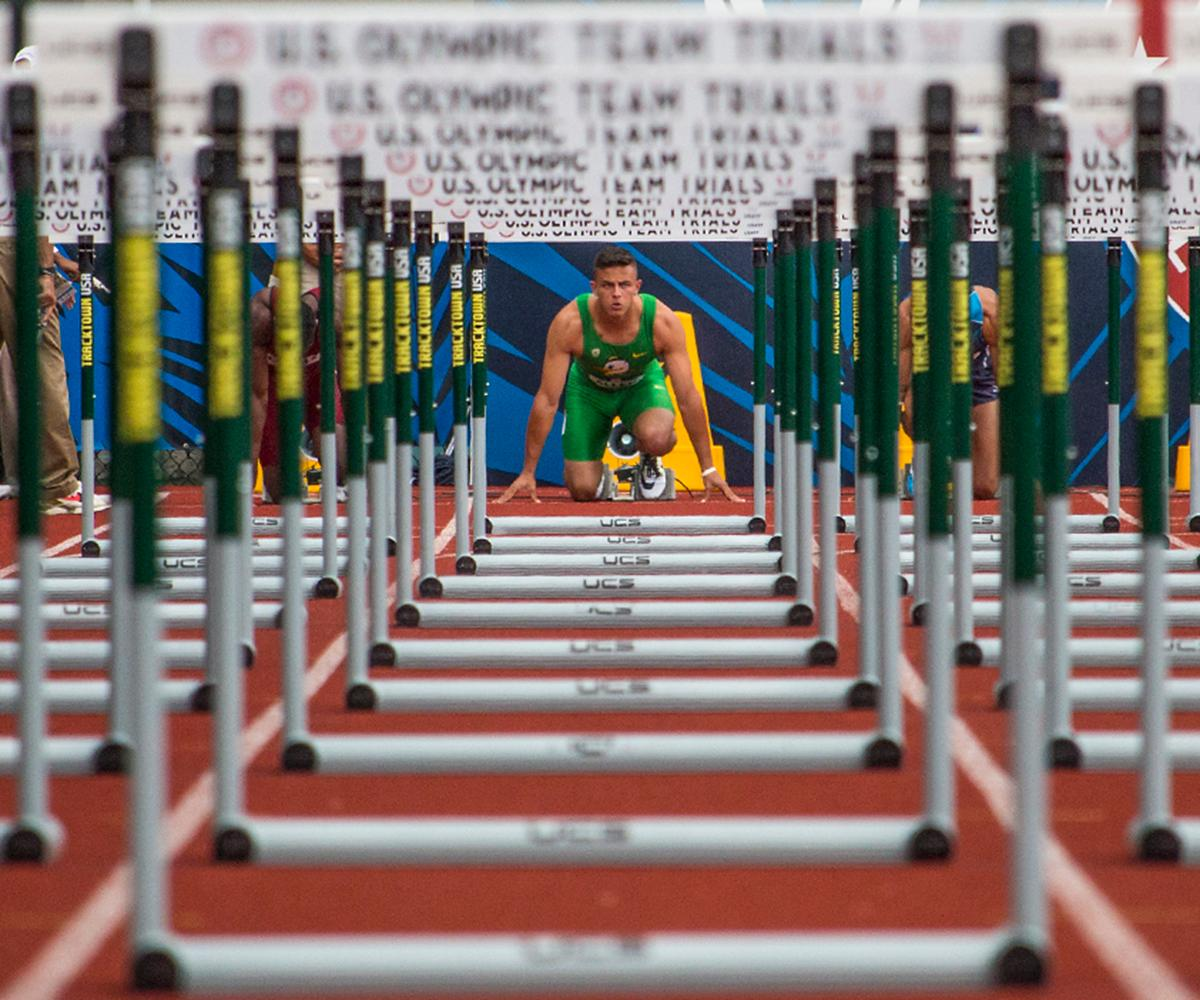 Oregon Duck Devon Allen takes a breath as he gets set in the starting blocks of the men�s 110 meter hurdle prelims. Day Eight of the U.S. Olympic Trials Track and Field continued on Friday at Hayward Field in Eugene, Ore. and will continue through July 10. Photo by Katie Pietzold