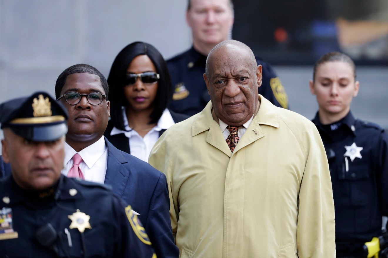 Bill Cosby departs after a pretrial hearing in his sexual assault case at the Montgomery County Courthouse, Monday, Feb. 27, 2017, in Norristown, Pa. A jury from outside the Philadelphia suburbs will be brought in to decide the case against Cosby, a judge ruled Monday. (AP Photo/Matt Slocum)