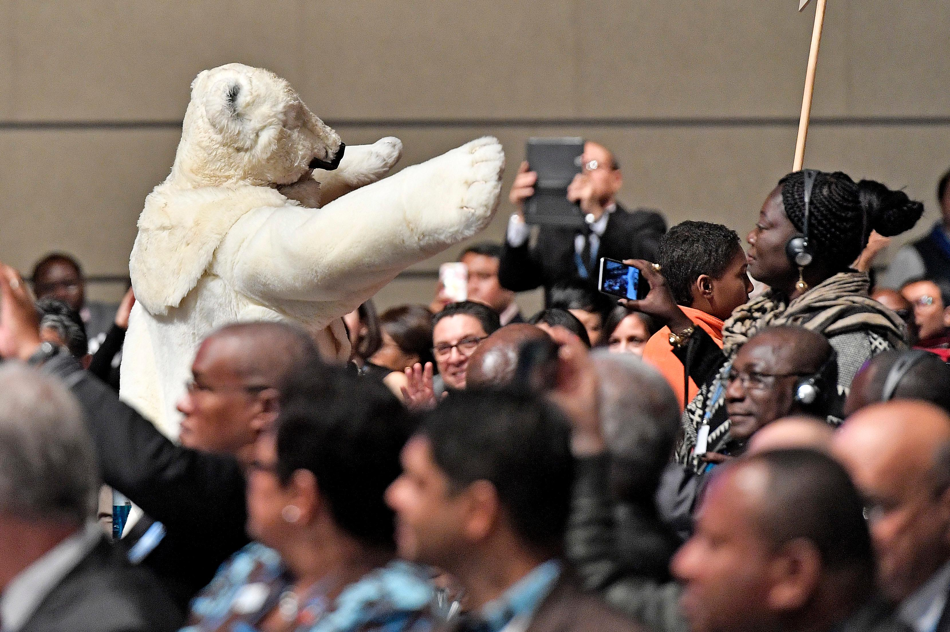 A man in a polar bear costume walks between the delegates during the opening of the COP 23 Fiji UN Climate Change Conference in Bonn, Germany, Monday, Nov. 6, 2017. (AP Photo/Martin Meissner)<p></p>