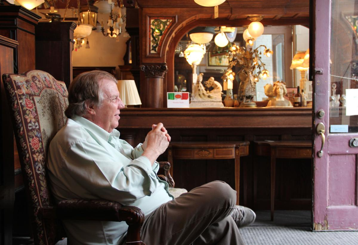 "Mike Williams, co-owner, Wooden Nickel Antiques -- Rocking the architectural antique scene since 1976, Wooden Nickel specializes in a variety of styles, eras, and furniture genres. Because its real focus is on ""WOW."""