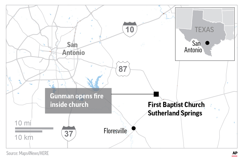 Map locates church shooting in Sutherland Springs, Texas.; 2c x 3 inches; 96.3 mm x 76 mm. (AP)<p></p>
