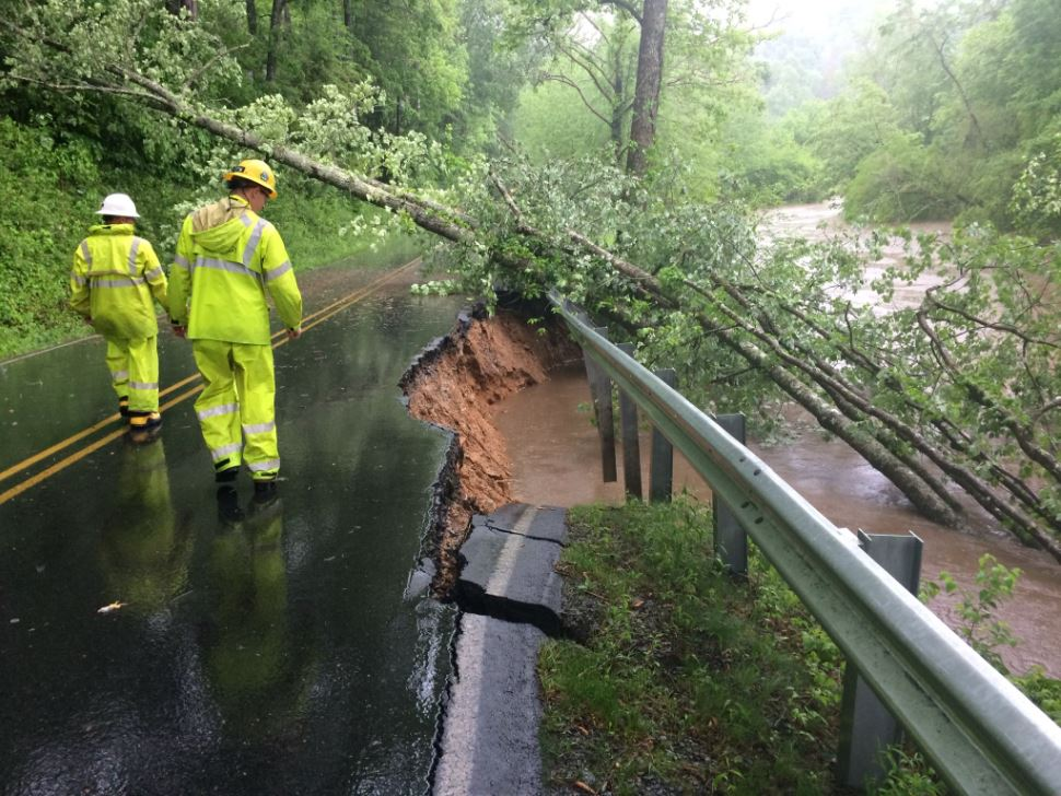<p>Wilson Road in closed after heavy rains on Wednesday washed out about a third of the road. (Photo credit: WLOS Staff)</p>