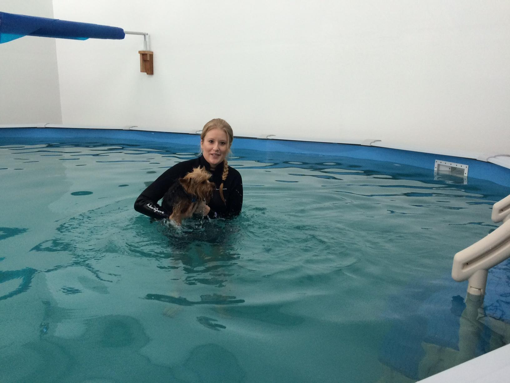 At 94 degrees, the jacuzzi-like water is therapeutic for older dogs or dogs with injuries. It also provides a quick and effective work-out for dogs of all ages and abilities. (SBG)