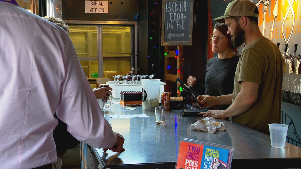 The 2019 Asheville Amadeus Festival kicked off Friday night with the release of two unique beers brewed for the occasion. (Photo credit: WLOS staff)