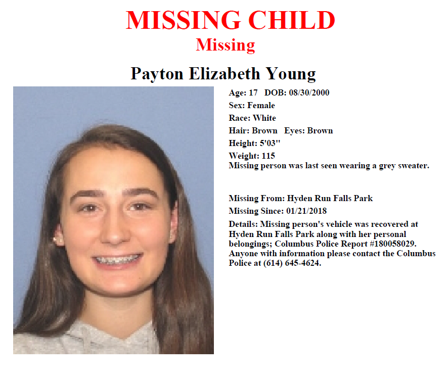 17-year-old Payton Young was last seen at Hayden Falls Park Sunday night January 21, 2018. (Courtesy: CPD)