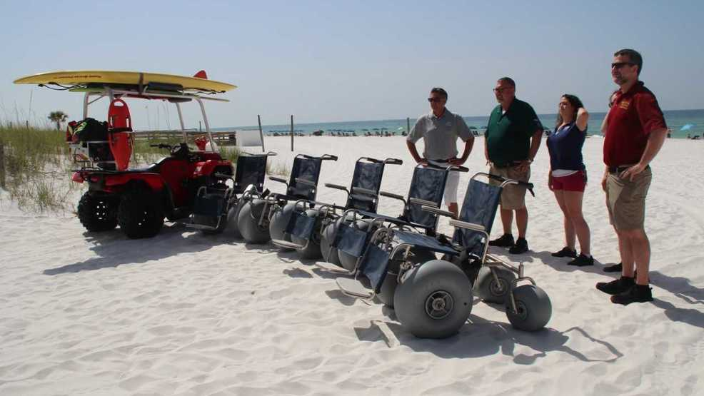Beach Wheelchairs rolled out on Okaloosa Island | on golf cart wheel accessories, motor home wheel chair, golf cart wheel blue, scooter wheel chair,