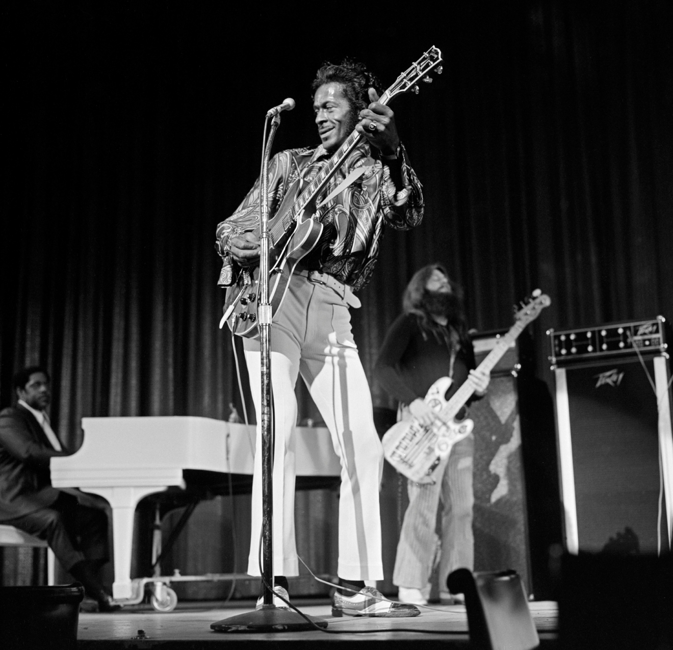 Chuck Berry performs at the Las Vegas Hilton Wednesday, March 8, 1972. [Gary Angel/Las Vegas News Bureau]