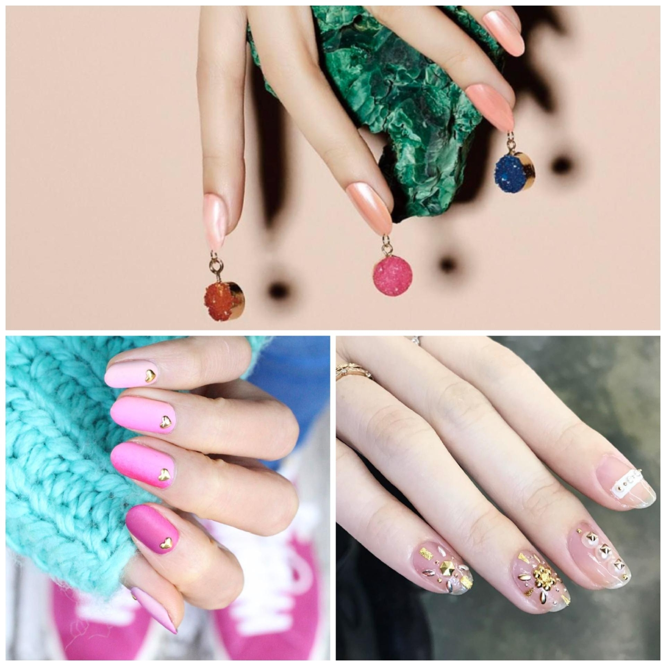There's 3 trends happening in this pic.  On top, the nail piercing trend that Kim Kardashian recently sported. In 2017, pastels like the light pink are a win-win all year round.  Accessorize your nails with a little gold stud. And a minimal approach with light colors and some gems are sure to steal the show. (Image: Nail Unistella)