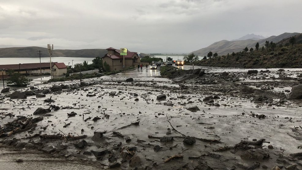 Big mudslide blocks US 395 near Nevada California