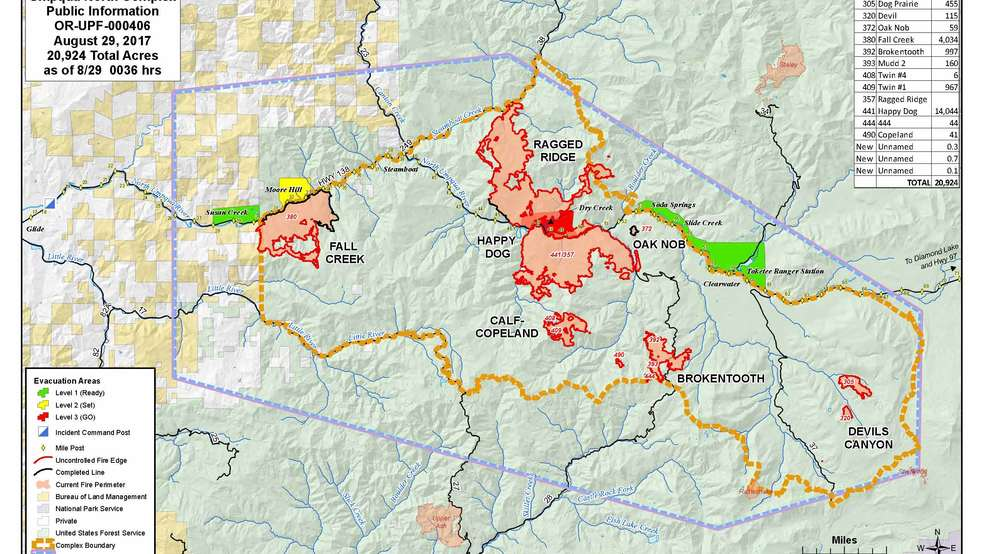 Large Incident Fire Map.Umpqua North Complex Burns Another 3 000 Acres Now Totals Almost
