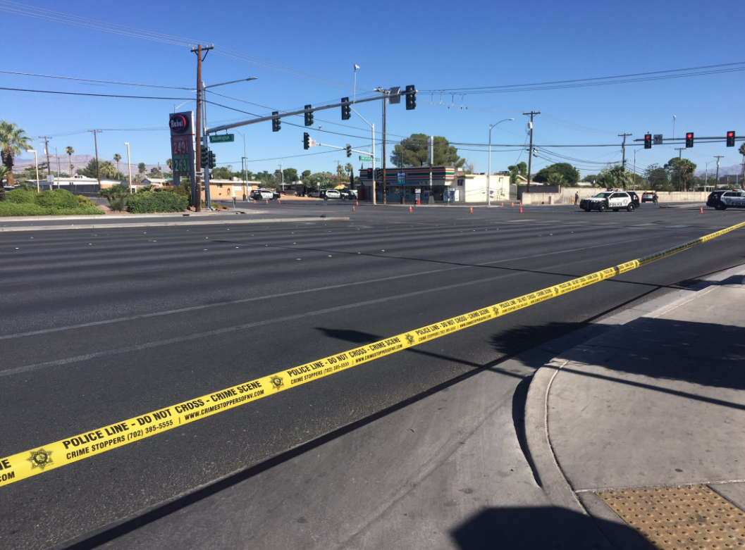 LVMPD says a man with a large knife was on top of a 7-Eleven threatening to kill himself and later jumped off the roof to a residential backyard near Decatur and Washington. (Faith Jessie | KSNV)