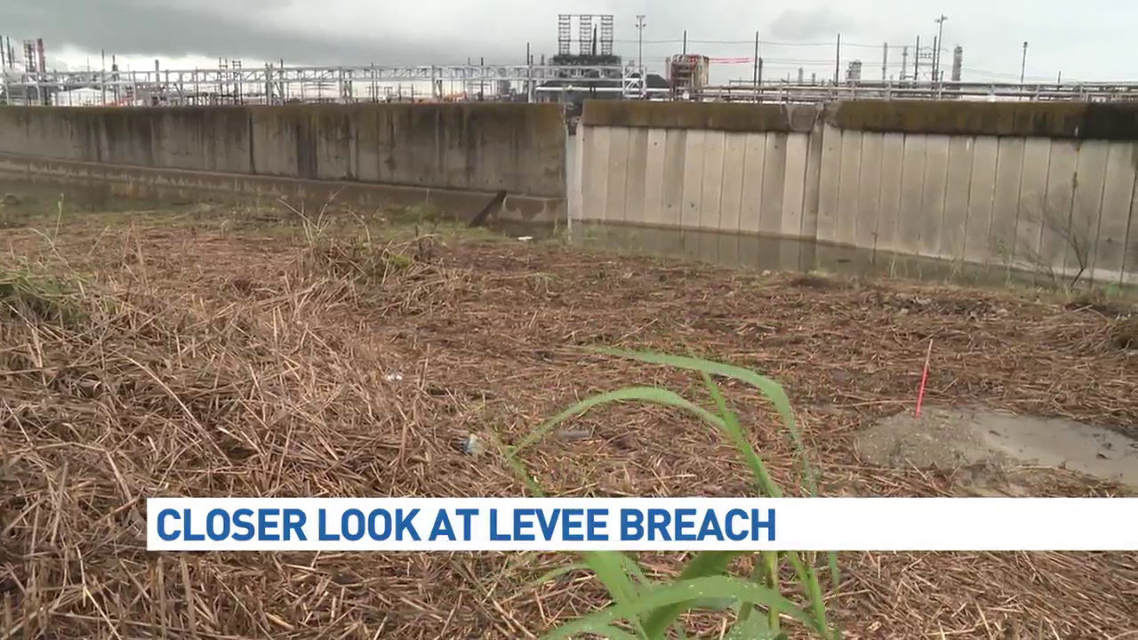 A failed levee near Taylor Bayou could compromise a portion of Jefferson County south of Beaumont - mainly Port Arthur and its surrounding refineries - if a tropical storm or hurricane hit the area, according to the U.S. Army Corps of Engineers. (KFDM/KBTV photo)
