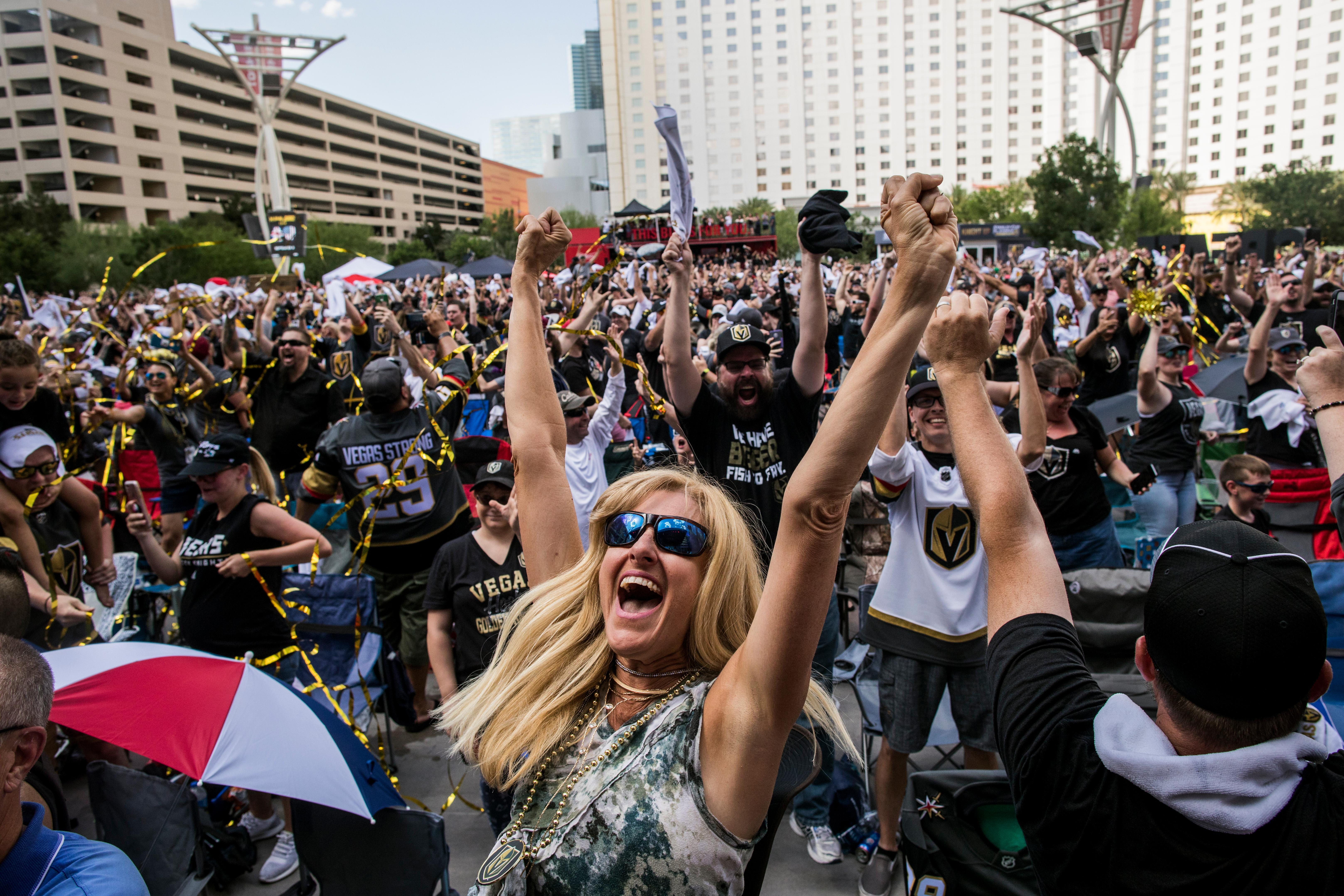 Lauren Olson celebrates after the Vegas Golden Knights defeated the Winnipeg Jets 2-1, winning the Western Conference Championship Sunday May 20, 2018 at Toshiba Plaza outside T-Mobile Arena. The Golden Knights have advanced to the Stanley Cup finals. CREDIT: Joe Buglewicz/Las Vegas News Bureau