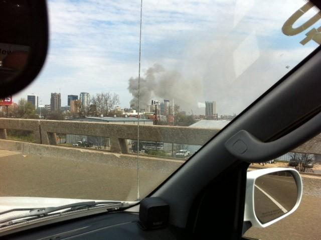View from the interstate of a large building fire in downtown Birmingham on Friday, March 29, 2013.