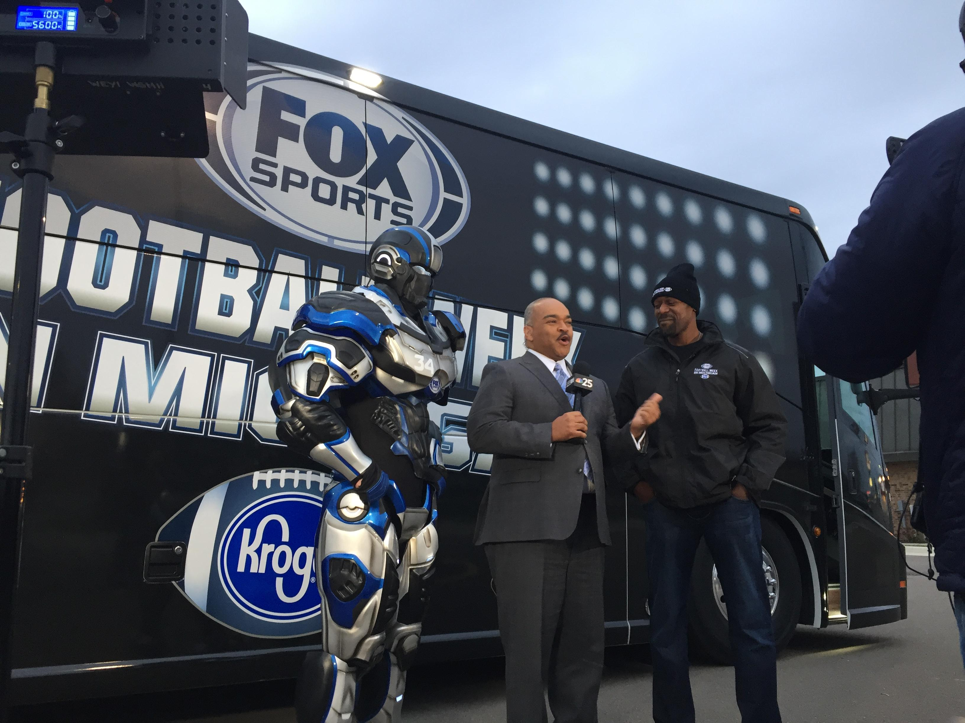 FOX Sports Detroit stopped FOX66 studio Wednesday, Nov. 15 promoting their tour across Michigan. They brought along Herman Moore, former Lions player, and their robot Cleatus. (Photos by WSMH)