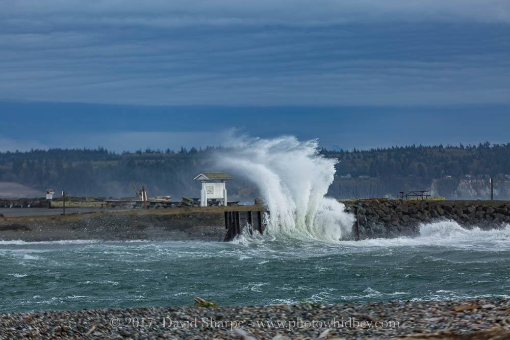 Strong winds blow water over a retaining wall at the Keystone Ferry Dock on Nov. 19, 2017 (Photo: David Sharpe)