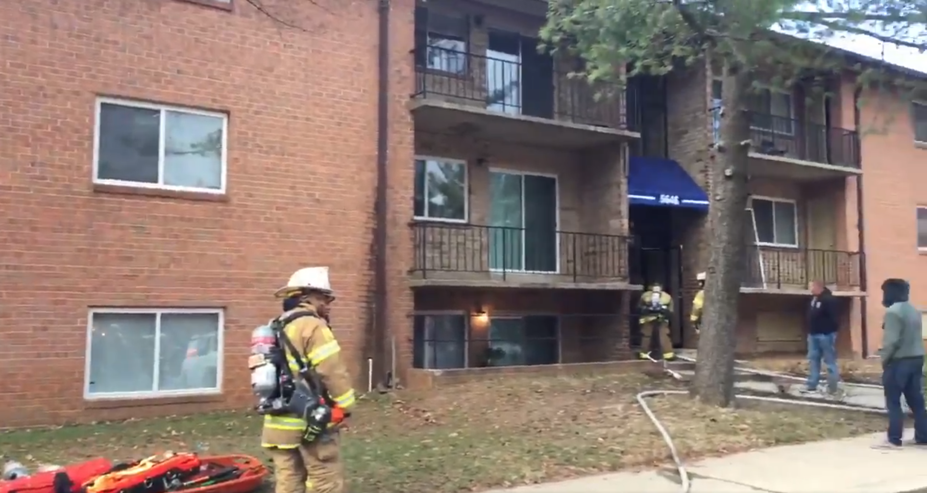 Firefighters are on the scene of a fire at an apartment building in Lanham, Md.{&amp;nbsp;} Thursday, Dec. 14, 2017{&amp;nbsp;}(Photo courtesy of Mark Brady/Prince George's County Fire Department)<p></p>
